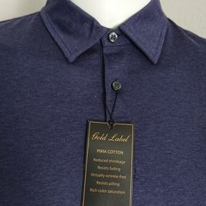 New Men's XL polo long-sleeved blue Gold Label